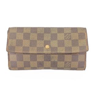 Auth Louis Vuitton Damier N61217 Women's  Long Wallet (tri-fold)