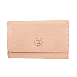Auth Chanel Key Case Coco Button Women's Leather Pink