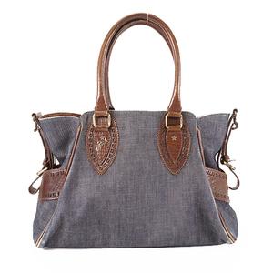 Auth Fendi Women's Denim Handbag Navy