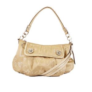 Auth Coach Poppy 2Way Bag  15302 Women's Nylon Canvas Handbag,Shoulder Bag Beige