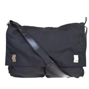 Gucci Unisex Nylon,Leather Shoulder Bag Black