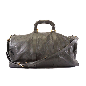 Auth Chanel Bicolor Women's Leather Boston Bag Black