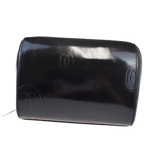 Cartier Must Happy Birthday Unisex Leather Pouch Black