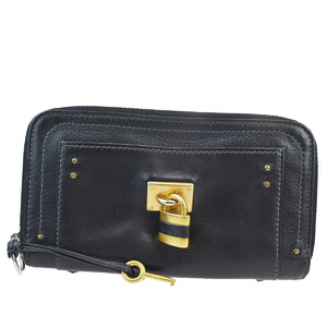 Chloé Paddington Round Zipper Wallet Padlock Leather Wallet Black