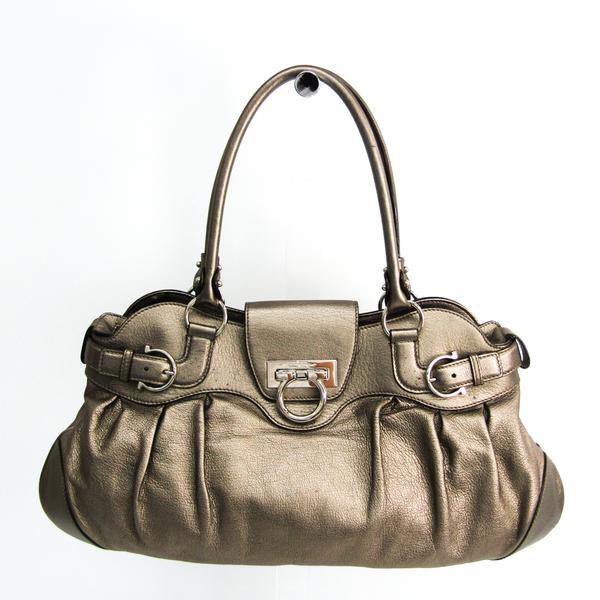 Salvatore Ferragamo Gancini AB-21 5370 Women's Leather Handbag Bronze