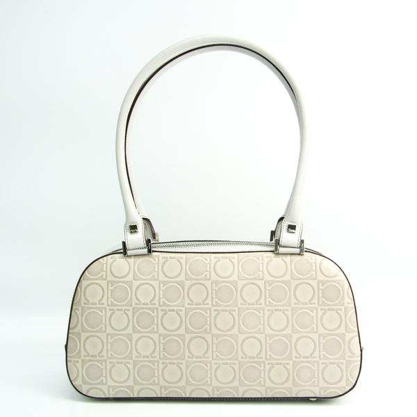 Salvatore Ferragamo Gancini AB-21 1234 Women's Leather Handbag Off-white