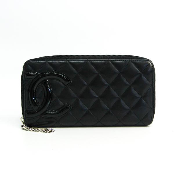 Chanel Cambon A50078 Women's Leather Long Wallet (bi-fold) Black