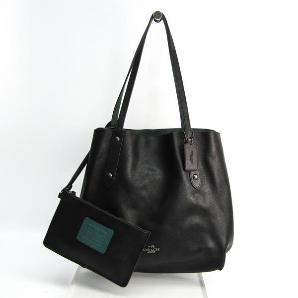 Coach Trim Reversible Large Market 59503 Women's Suede,Leather Tote Bag Black,Khaki