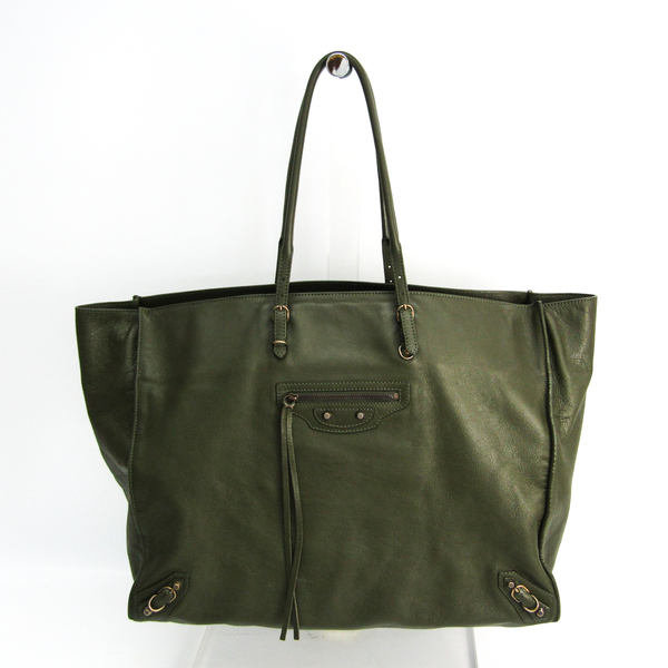 Balenciaga The Paper 236701 Women's Leather Tote Bag Khaki