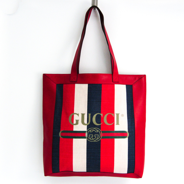 Gucci Tricolor Striped Logo Print 523781 Women's Linen,Leather Tote Bag Navy,Off-white,Red Color