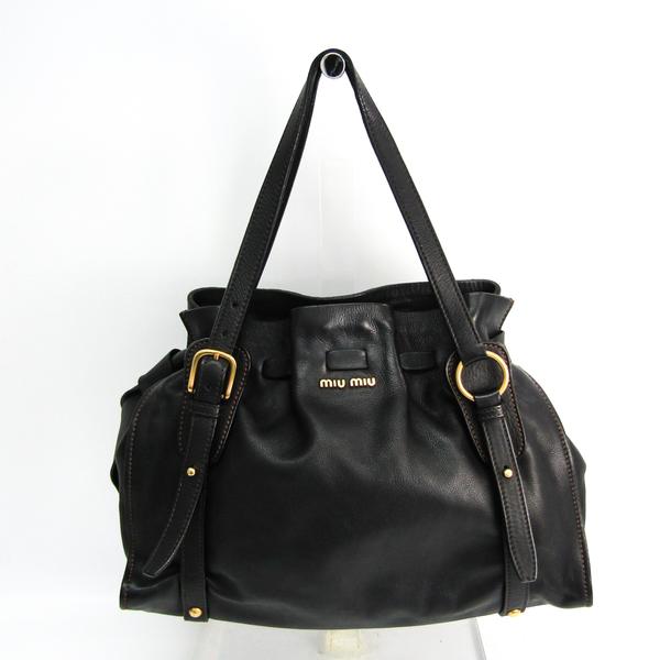 Miu Miu Side Ribbon RR1312 Women's Leather Tote Bag Black