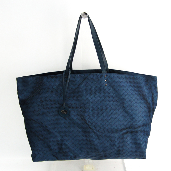 Bottega Veneta Intreccio Luge Women's Leather,Nylon Tote Bag Navy