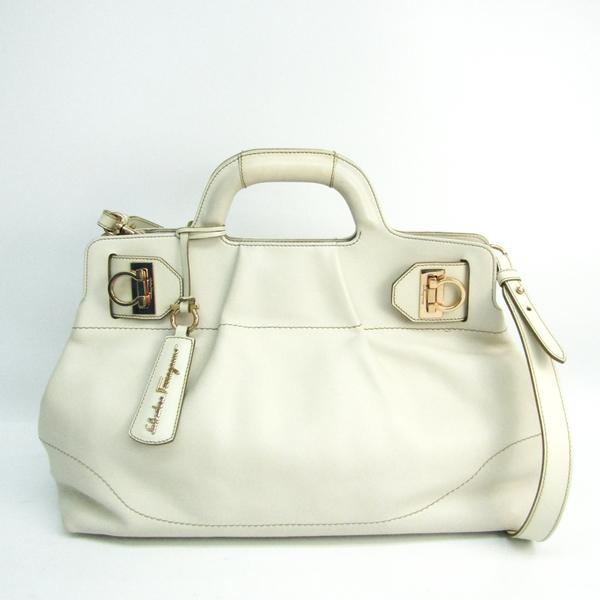 Salvatore Ferragamo Gancini DY-21 C465 Women's Leather Handbag,Shoulder Bag Ivory