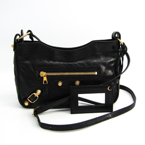 Balenciaga Giant Hip 237203 Women's Leather Shoulder Bag Black
