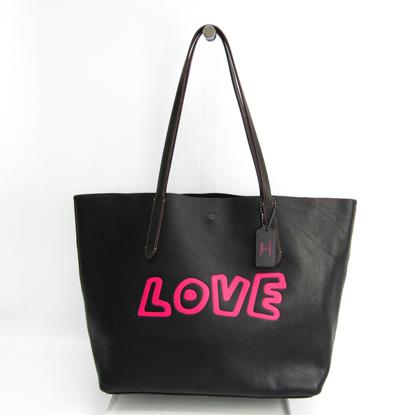 Coach Trim Coach X Keith Haring Collaboration Love F11767 Women's Leather Tote Bag Black,Pink