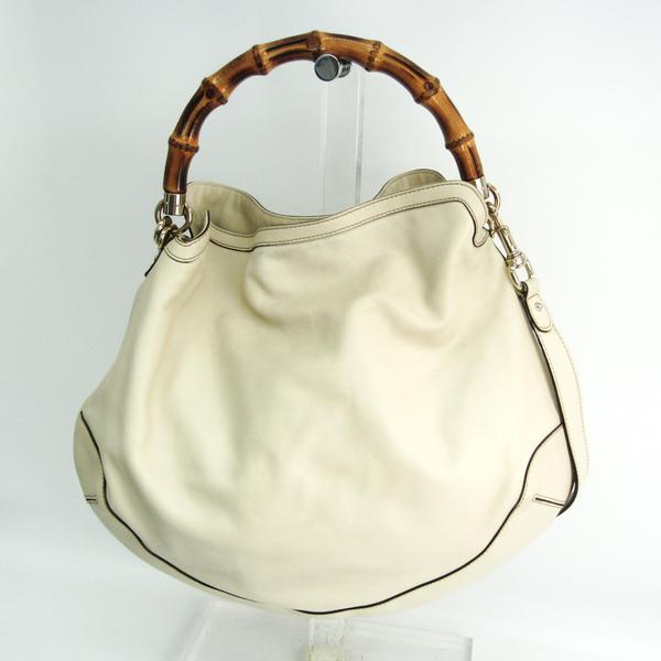 Gucci Bamboo Hobo 169976 Women's Leather,Bamboo Handbag,Shoulder Bag Brown,Ivory