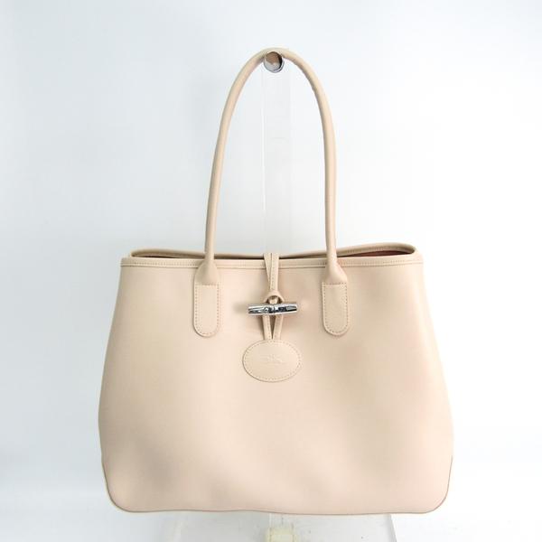 Longchamp ROSEAU Lozo Women's Leather Tote Bag Light Beige