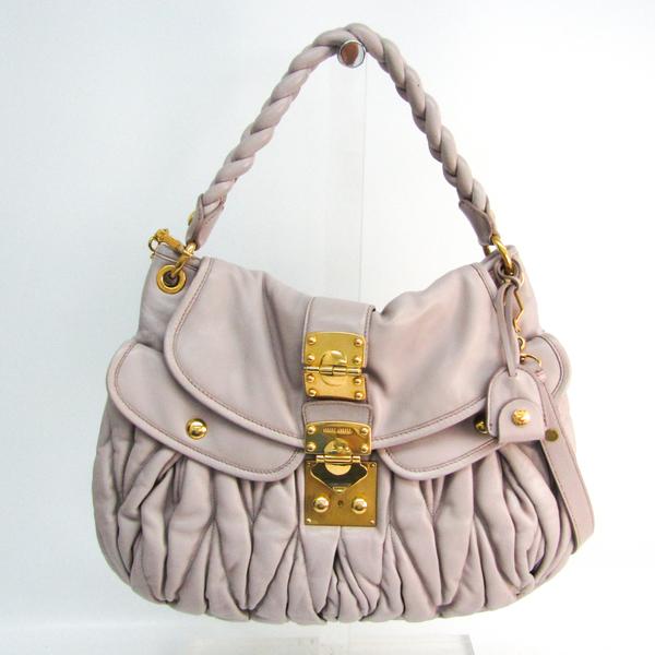 Miu Miu Matelasse Women's Leather Handbag,Shoulder Bag Light Purple