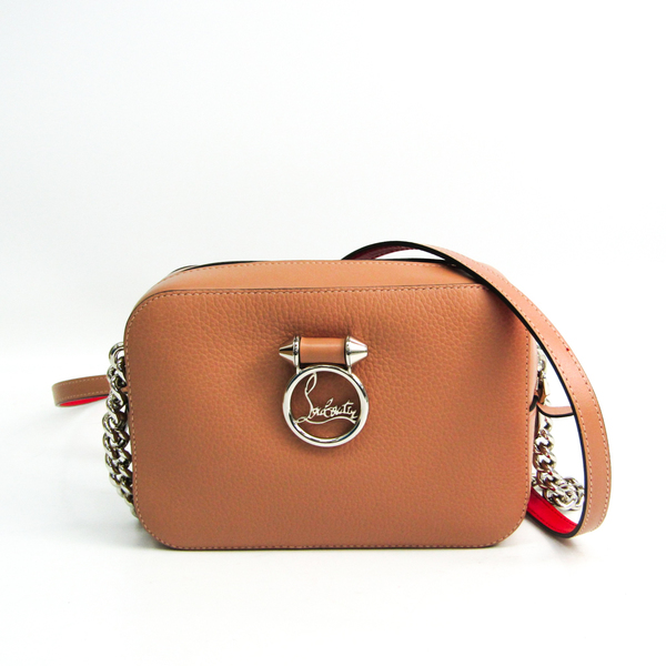 Christian Louboutin RUBYLOU MINI 1185090 Women's Leather Shoulder Bag Pink Beige,Red Color