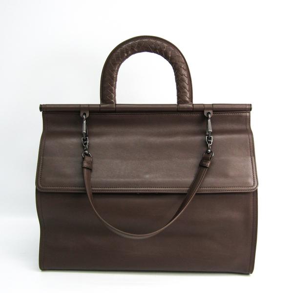 Bottega Veneta Handle Intrecciato Unisex Leather Briefcase,Handbag Brown