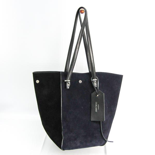 Jimmy Choo Twist Women's Leather,Suede Tote Bag Black,Navy