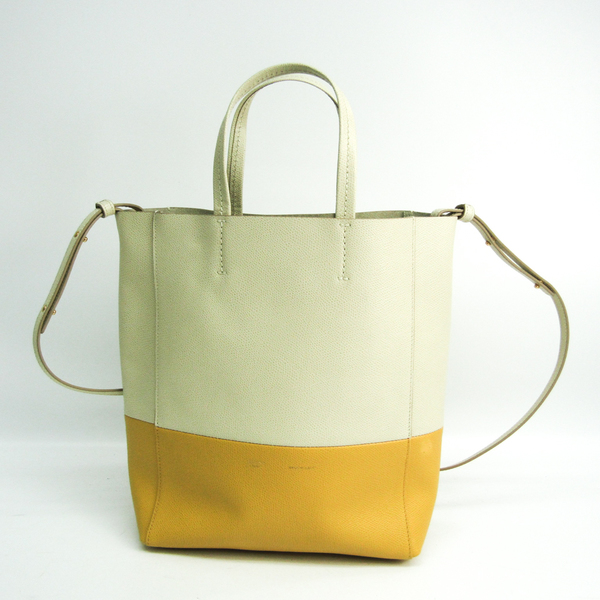 Celine Cabas Vertical Small Women's Leather Shoulder Bag,Tote Bag Ivory,Yellow