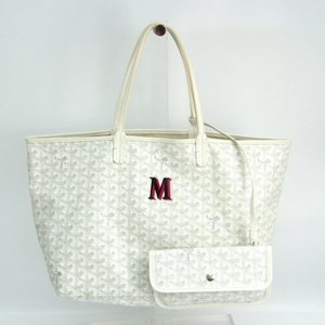 Goyard Saint Louis PM Women's Coated Canvas,Leather Tote Bag White