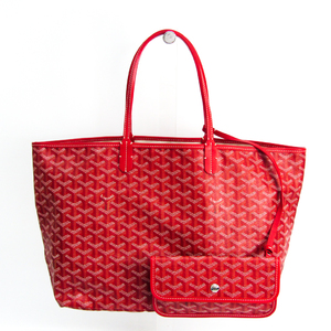 Goyard Saint Louis PM Women's Coated Canvas,Leather Tote Bag Red Color