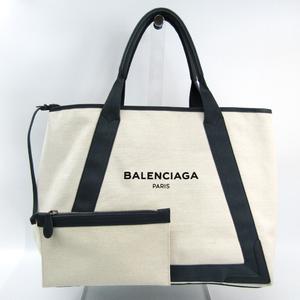 バレンシアガ(Balenciaga) ネイビーカバスM 339936 ユニセックス キャンバス,レザー トートバッグ グレー,アイボリー