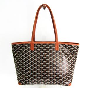 Goyard Artois PM Women's PVC,Leather Tote Bag Black,Brown,White