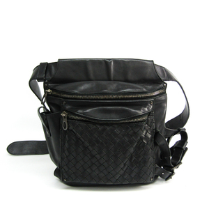Bottega Veneta Intrecciato 121604 Unisex Leather Fanny Pack,Shoulder Bag Black