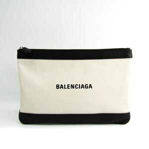 バレンシアガ(Balenciaga) ネイビークリップ M 420407 レディース キャンバス,レザー クラッチバッグ ブラック,アイボリー
