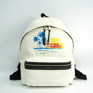 Saint Laurent WAITING FOR SUNSET CITY 465448 Unisex Canvas,Leather Backpack Black,Blue,Off-white,Red Color,Yellow