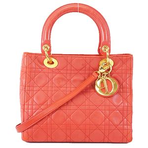 Christian Dior Cannage 2Way Bag Women's Leather Handbag Shoulder Bag