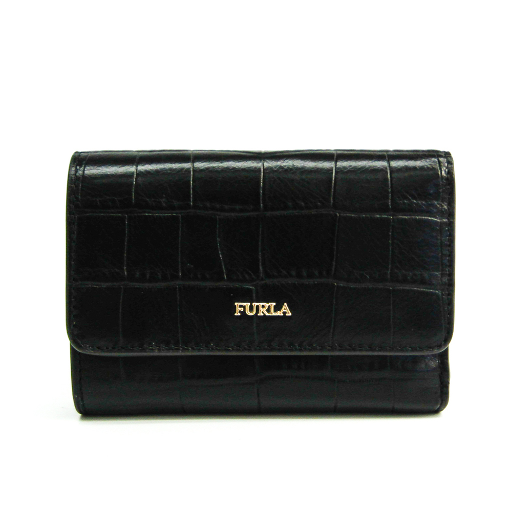 Furla Babylon S Trifold Wallet 1026311 Women's  Embossed Leather Wallet (tri-fold) Black