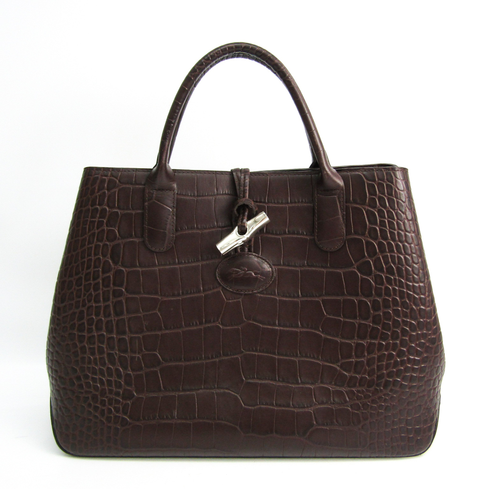 Longchamp ROSEAU Rozo 1986 858 304 Women's Leather Tote Bag Dark Brown