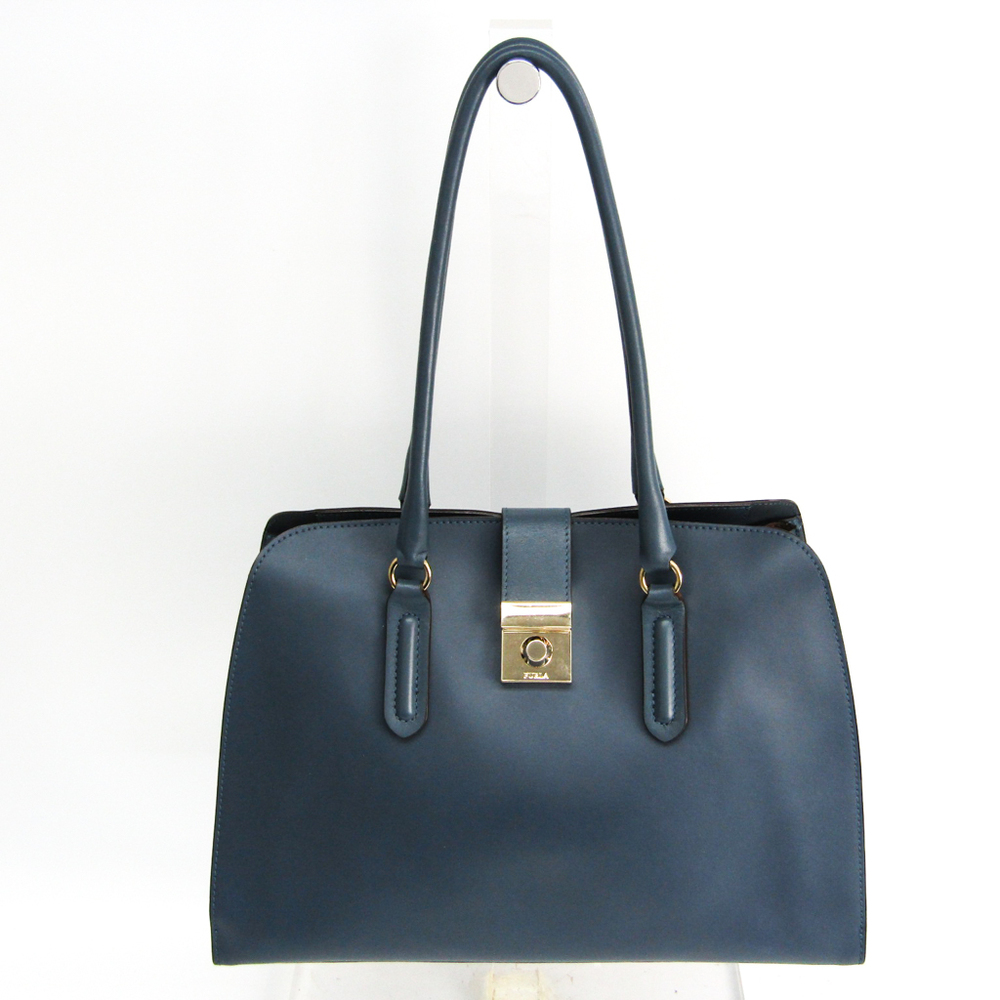 Furla PEGGY M Women's Leather Tote Bag Light Blue Gray