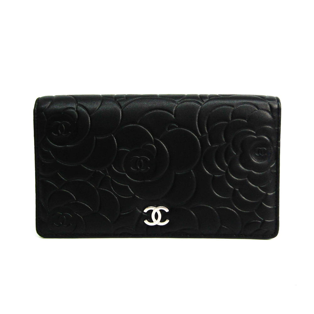 Chanel Camellia A36544 Women's  Lambskin Long Wallet (bi-fold) Black,Silver