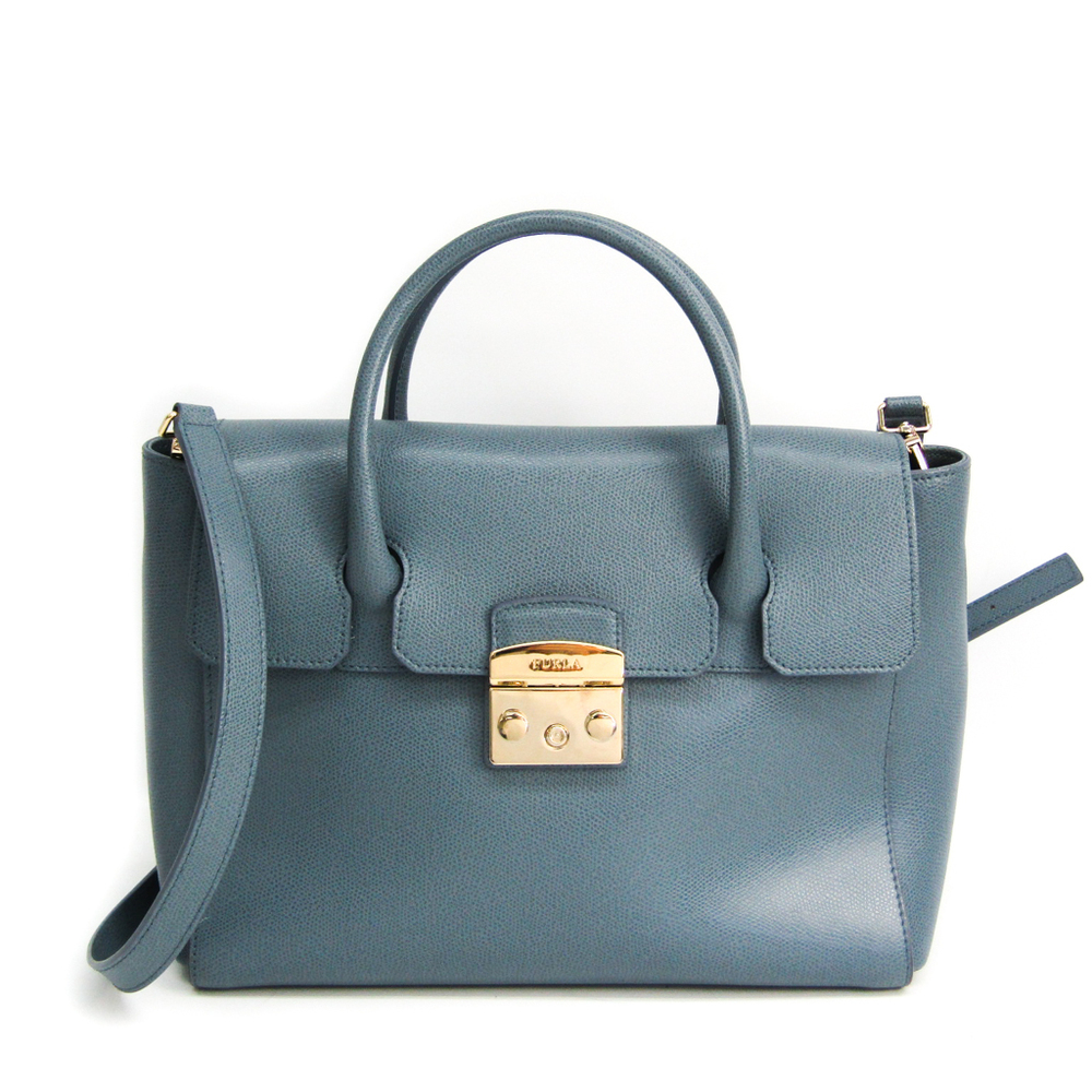 Furla Metropolis M Women's Leather Handbag,Shoulder Bag Light Blue Gray