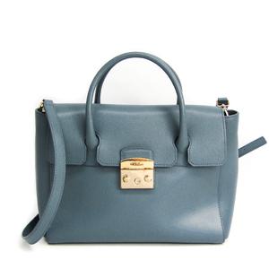 Furla Metropolis M Women's Leather Handbag,Shoulder Bag Light Blue Gray