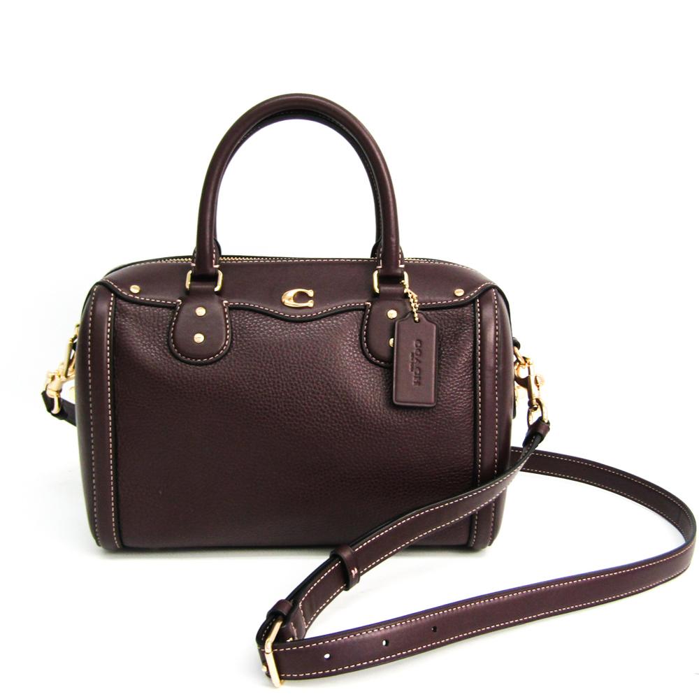 Coach IVIE BENNETT SATCHEL F37862 Women's Leather Handbag,Shoulder Bag Bordeaux (close To Brown)
