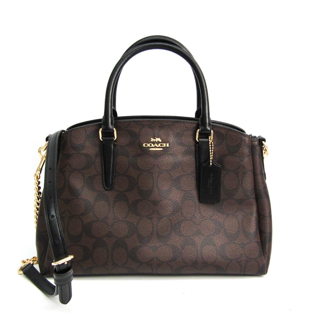 Coach Signature Sage Carry All In F29683 Women's Coated Canvas,Leather Handbag,Shoulder Bag Black,Dark Brown