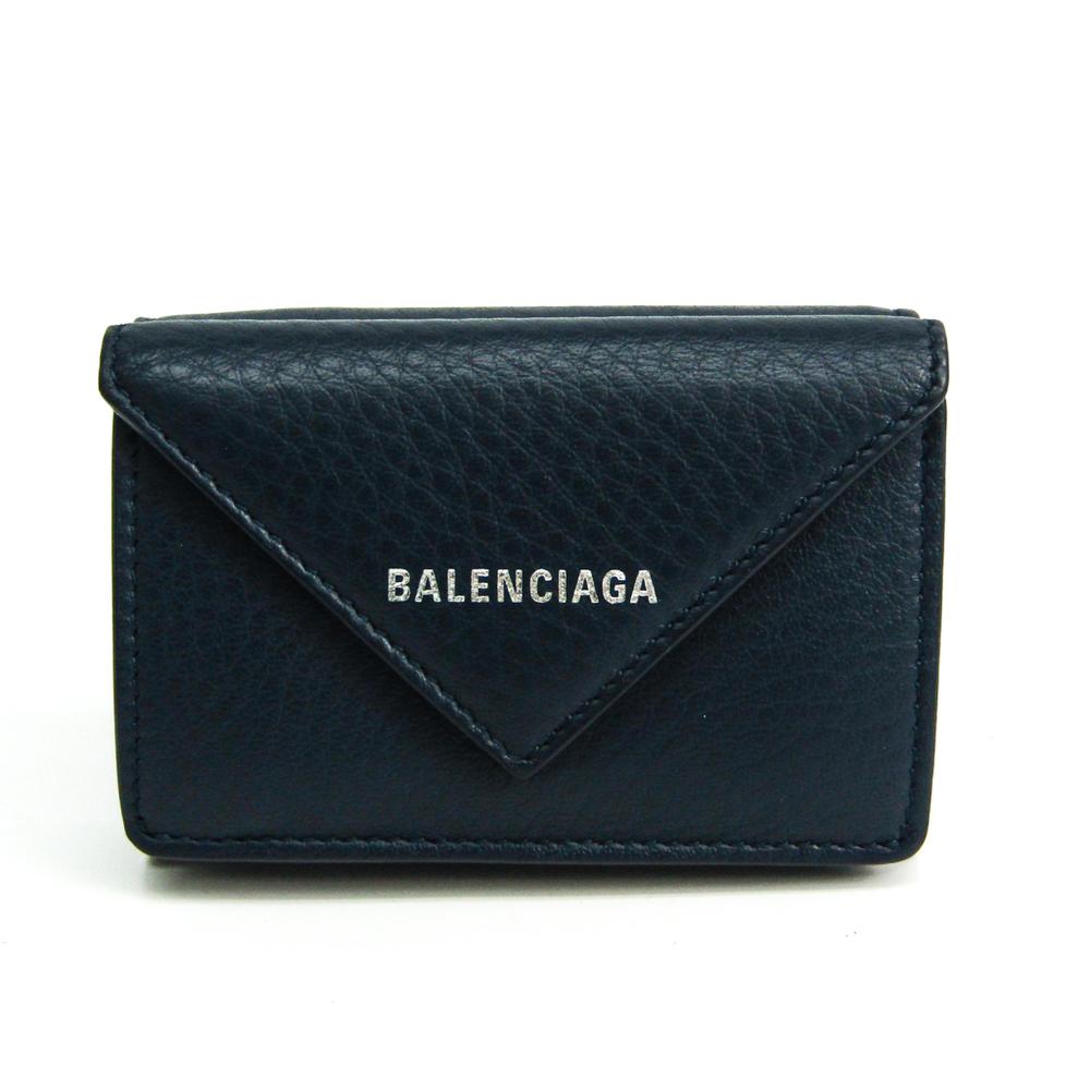 バレンシアガ(Balenciaga) ペーパー ミニウォレット 391446 レディース レザー 財布(三つ折り) ネイビー
