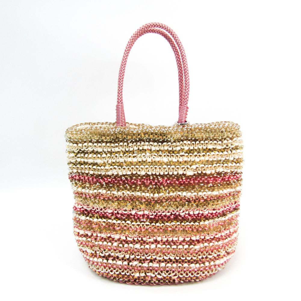 Anteprima Women's Wire,Satin Handbag Clear,Ivory,Pink