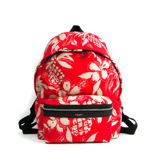 Saint Laurent Hibiscus 435988 Unisex Canvas,Leather Backpack Black,Cream,Red Color