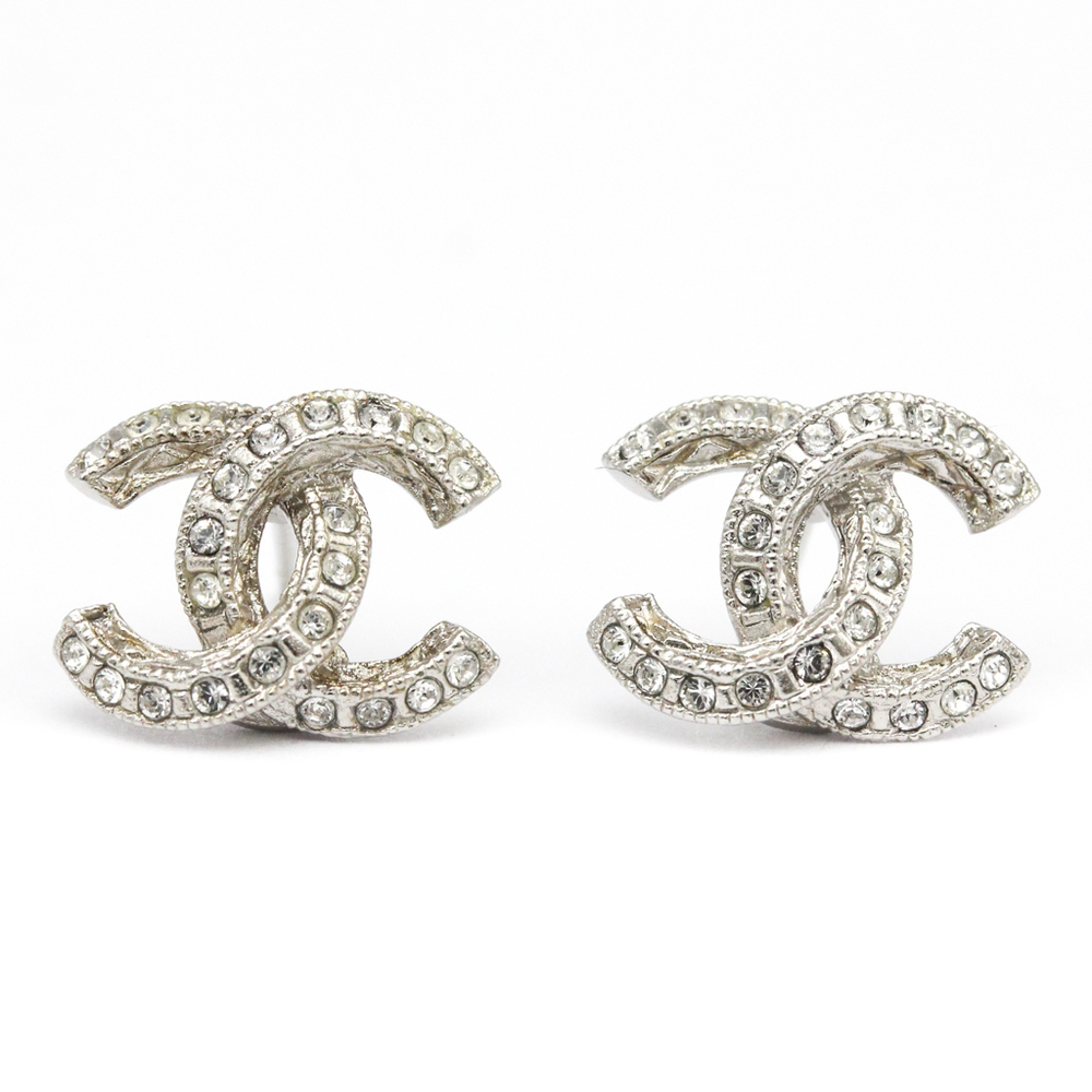 Chanel Coco Rhinestone Metal Earrings
