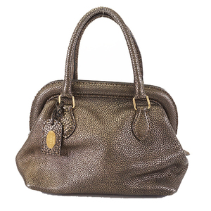 Auth Fendi Selleria Hand Bag Women's Leather Handbag Bronze
