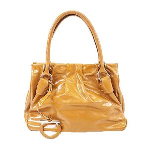 Auth Salvatore Ferragamo Gancini Women's Leather Handbag Light Brown