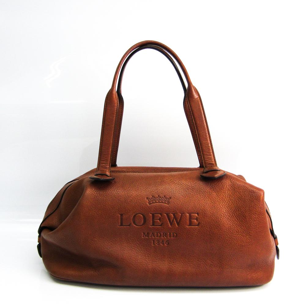 ロエベ(Loewe) ヘリテージ レディース レザー ボストンバッグ ダークブラウン