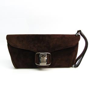 Salvatore Ferragamo Q217645 Women's Suede Clutch Bag Dark Brown